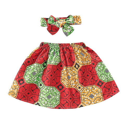 Red African Print Ankara Skirt and Headband Set for Baby Girls - Eldimaa Fashion
