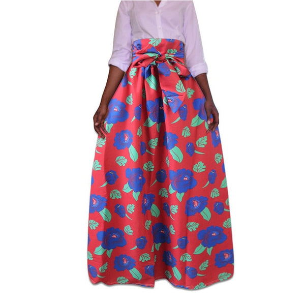Red Maxi Ankara African Print Skirt - Eldimaa Fashion