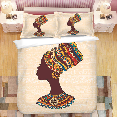 African Lady Duvet Cover and Pillow Set - Eldimaa Fashion