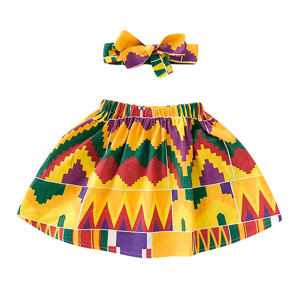 Yellow African Print Ankara Skirt and Headband Set for Baby Girls - Eldimaa Fashion