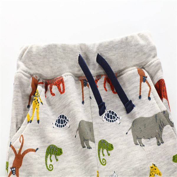 Grey Gender Neutral African Animals Kids Track Bottom Pants - Eldimaa Fashion