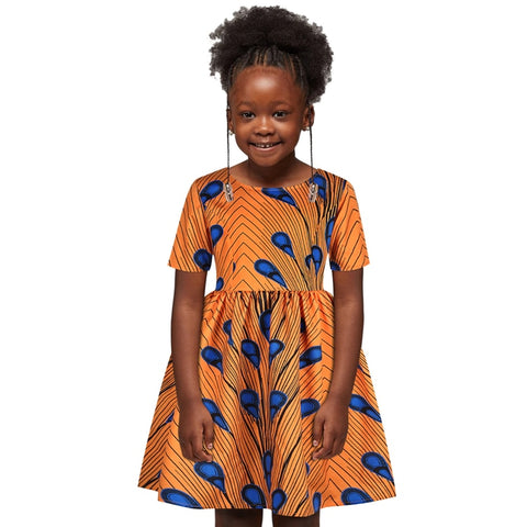 Yellow Girls African Print Ankara Flared Dress - Eldimaa Fashion