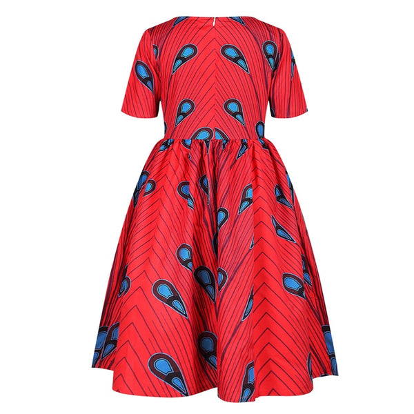Red Kids Girls African Print Ankara Flared Dress - Eldimaa Fashion