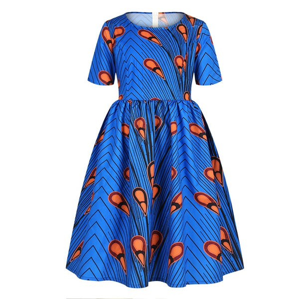 Blue Girls African Print Ankara Flared Dress - Eldimaa Fashion