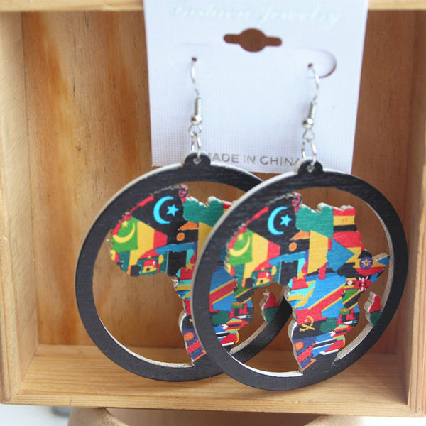 African Map Wood Earrings - Eldimaa Fashion