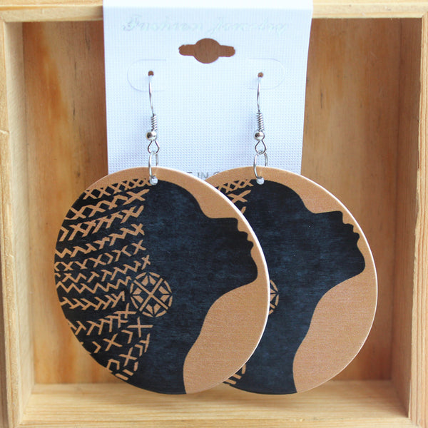 Braided Hair Wood Earring - Eldimaa Fashion