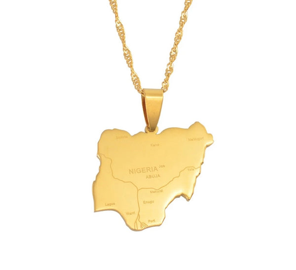 Gold plated Nigeria Map Pendant - Eldimaa Fashion