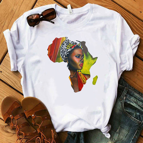 Mama Africa White T shirt - Eldimaa Fashion