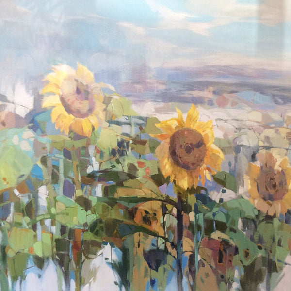 "Original Oil Painting ""Sunflowers in Field"""