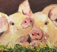 "Original Oil Painting ""Happy As A Pig in Mud"""