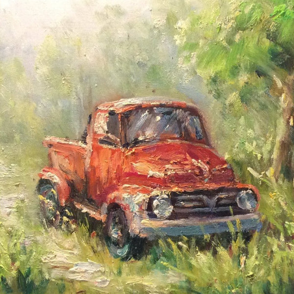 "Original Oil Painting ""Old Red Truck"""