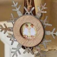 Wood & Tin Snowflake Picture Frame Ornament