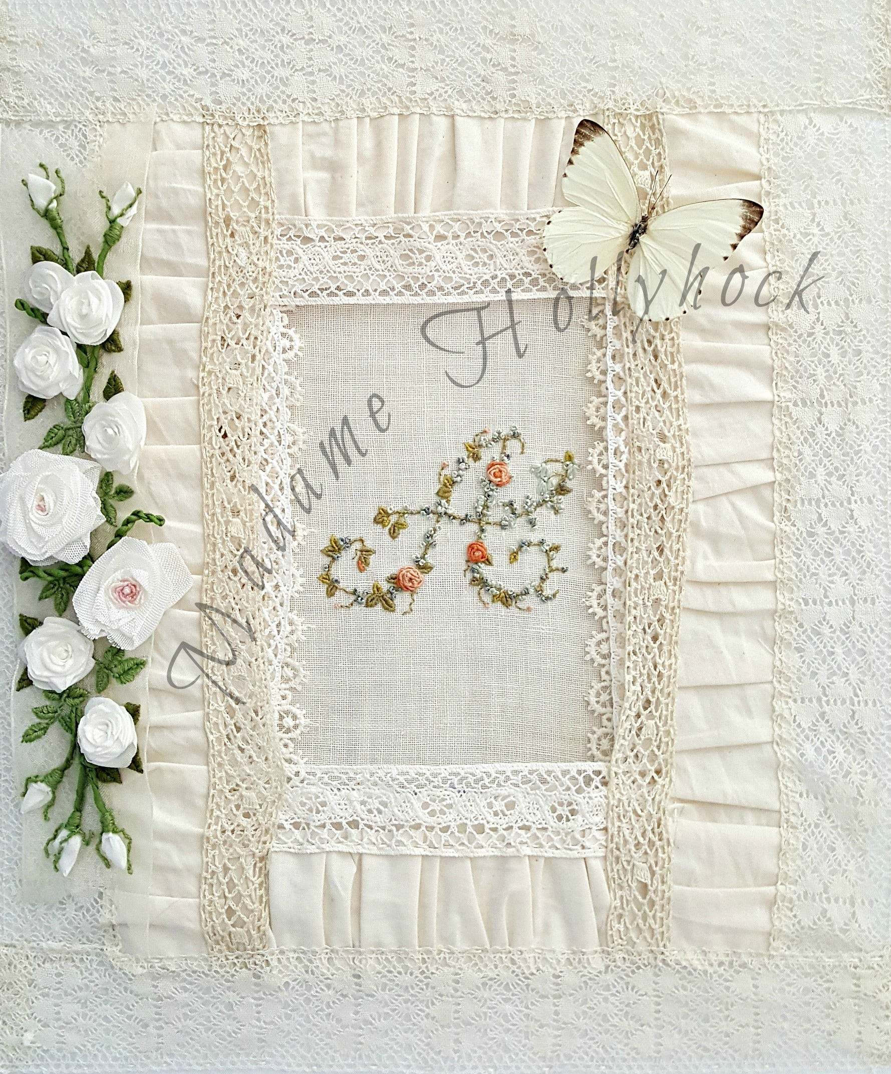 Floral Hand Embroidery Initial Monogram Art Print