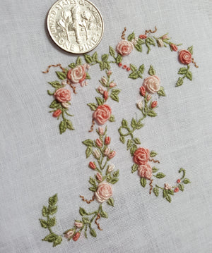 Custom Floral Hand Embroidery Monogram Handkerchief