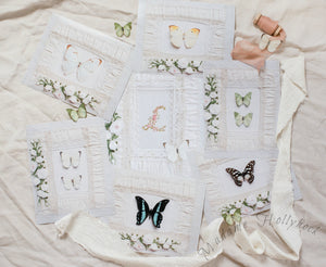 Monogram and Butterfly Art Prints Set of Seven