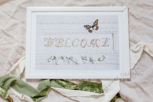 Welcome Sign Butterfly Art Print