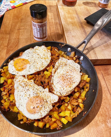 Pork Barbecue Hash and Eggs