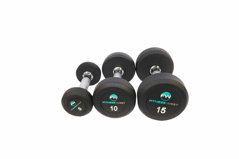 Fitness West Pro Style Rubber Dumbbell 5-50Ib