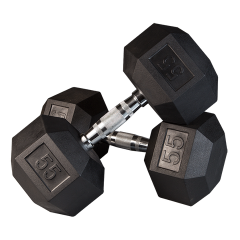 Rubber Hex Dumbbells with Chrome Contour Handles