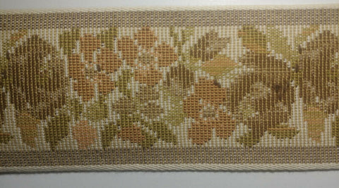 "2.5"" Woven Tapestry Floral Webbing Trim - 7 Continuous Yards - COLOR OPTIONS!"
