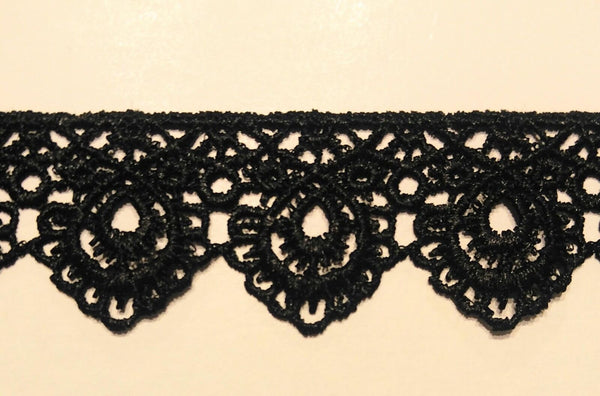 "1 1/4"" Venice Lace Trim - Color: Black - 10 Continuous Yards - MADE IN USA!"