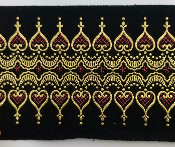 "3.5"" Faux Suede with Metallic Jacquard Trim - 8 Continuous Yards"
