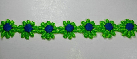 "1"" Venice Lace Daisy Trim Col. Lime / Blue - Put up: 10 Continuous Yards"