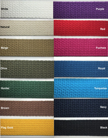 "1"" Cotton Webbing - 5 Continuous Yards - MANY COLORS AVAILABLE - Made in USA"