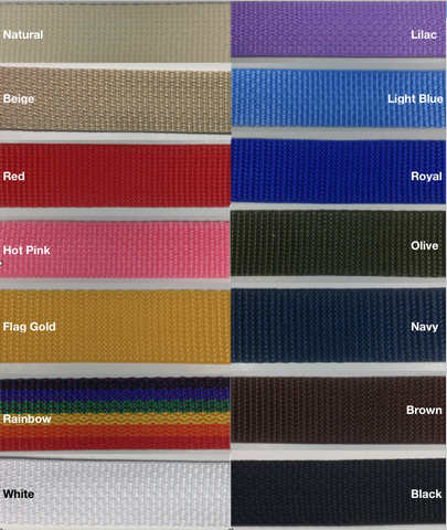 "1"" Poly Webbing - 10 Continuous Yards - MANY COLORS AVAILABLE - Made in USA!"