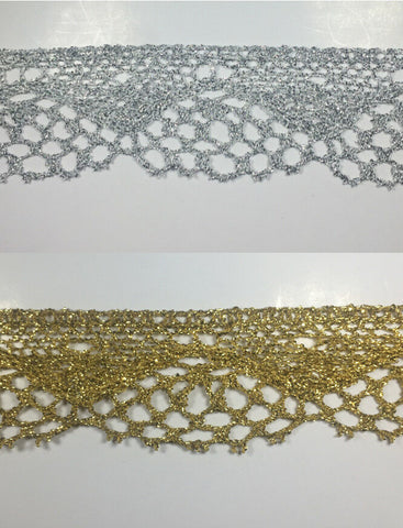 "1-1/4"" Metallic Cluny Lace - 10 Continuous Yards - Gold and Silver Available!"