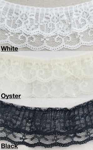 "2"" Ruffled Gathered Lace Two Tier Trimming - 9 Total Yards - Color Options!"