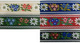 "1"" Jacquard Woven Floral Ribbon Trim - 10 Yards - Many Colors!"