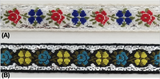 "1/2"" Jacquard Woven Floral Ribbon Trim with Metallic - 15 Continuous Yards"