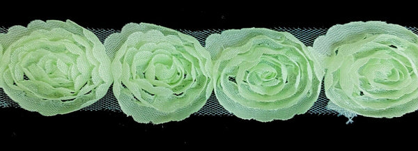 "1"" Flower Floral 3D Rose Chiffon Lace Trimming - 10 Yards!"