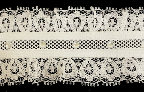 "1-7/8"" Ruffled Gathered Stretch Lace w/ Rhinestones Trim - 5 Yards!"