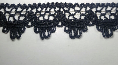 "1"" Cluny Lace Trimming Color: Black - Put-Up: 15 Continuous Yards"