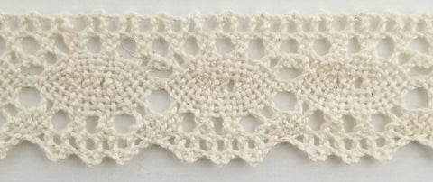 "1"" CLUNY LACE COTTON CROCHET TRIM - COLOR: NATURAL - 18 CONTINUOUS YARDS!"