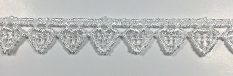 "7/16"" Heart Venice Venise Narrow edge Lace Trim - 18 Continuous Yards - White"