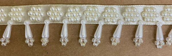 "1"" BEADED PEARL FRINGE SEWING TRIM - 10 YARDS!"