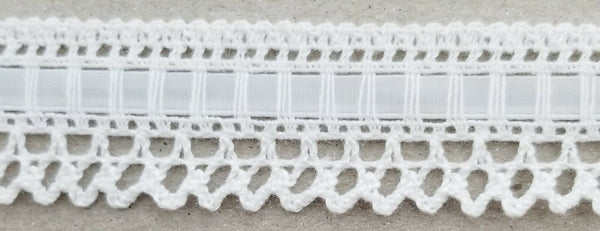 "1"" Cluny Lace Trimming with Satin Ribbon - 12 Continuous Yards"