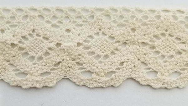 "1-3/4"" Cotton Cluny Lace Trimming - 10 Continuous Yards"
