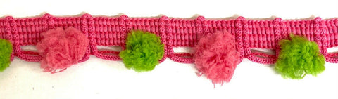 Multi Colored Pom Pom Poly Ball Fringe - 12 Continuous Yards!