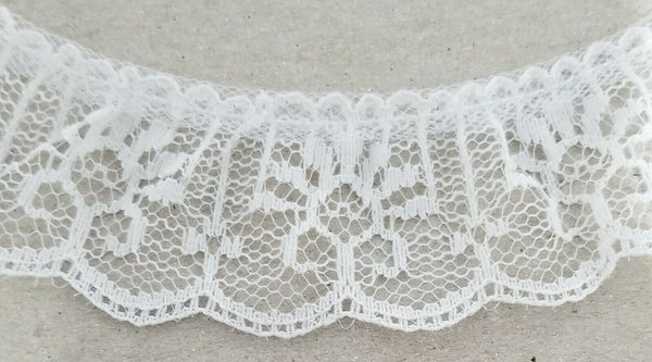 "1-1/4"" Ruffled Gathered Lace Trimming - 12 Continuous Yards - Color Options!"