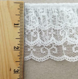 "2.5"" Ruffled Gathered Lace Three Tier Trimming - 9 Yards"