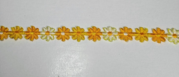 "3/8"" Venice Lace Daisy Trim Color Yellow White Multi - 30 Yards"