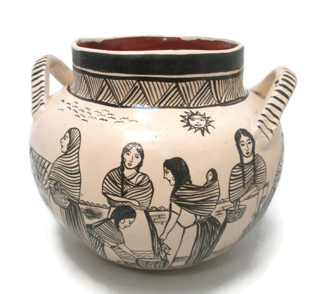 Angelica Morales Gamez  Hand Painted Mexican Pot - Dated 1988