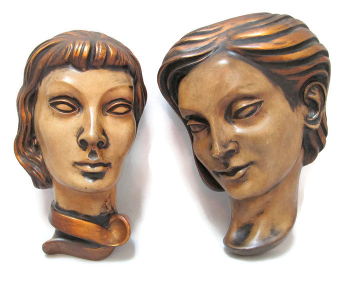 Achatit Werkstätten West German Large Wall Masks Pair Deco Women