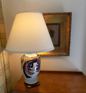 1960s Vintage Paul Hanson Table Lamp Hand Painted Porcelain