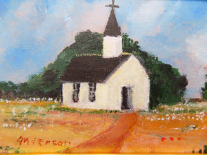 Folk Art Oil Painting of World's Smallest Catholic Church by Beth Anderson