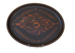 Antique Japanned Toleware Oval Tray Wonderful Patina